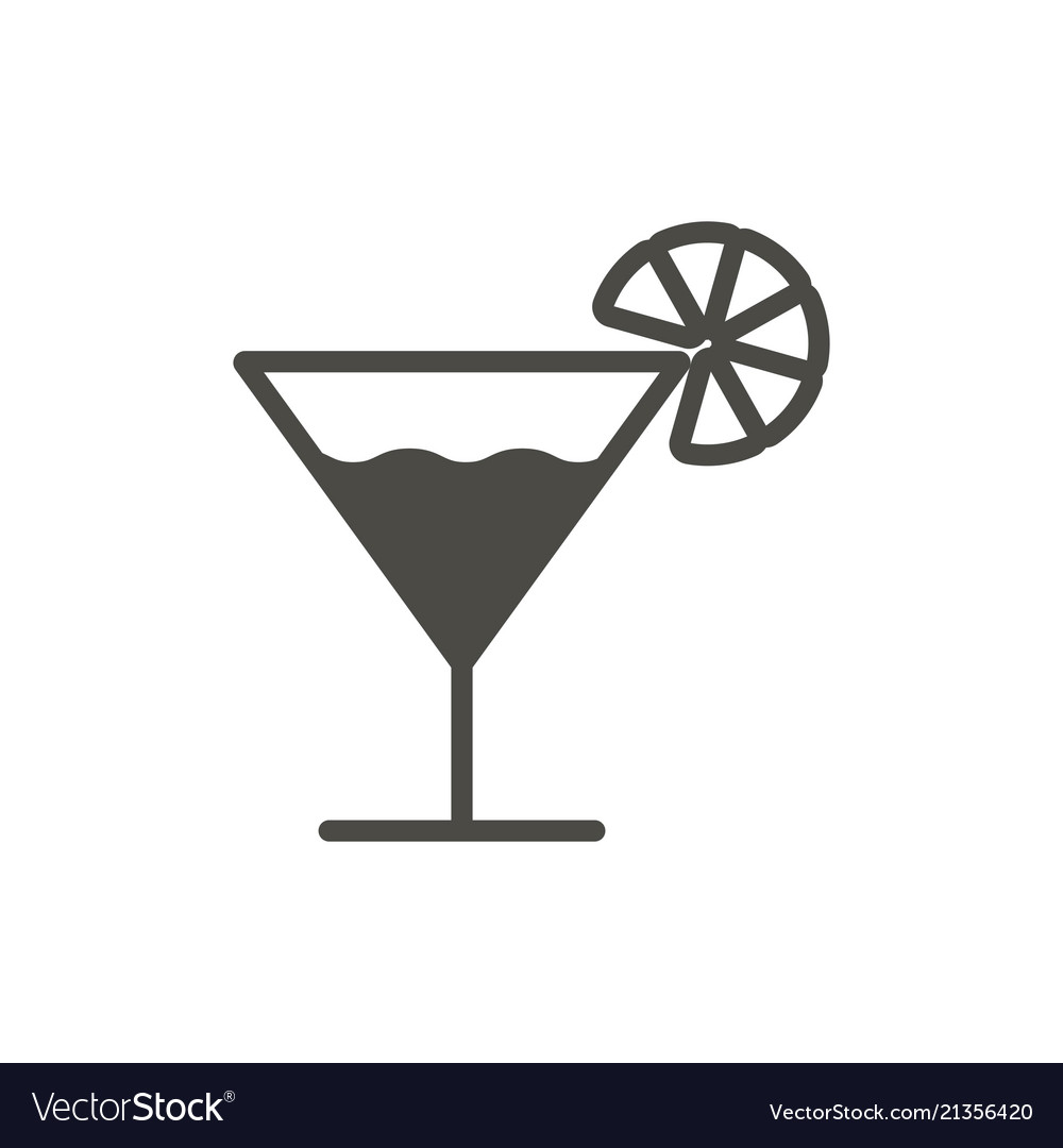 Cocktail icon glass drink symbol trendy f