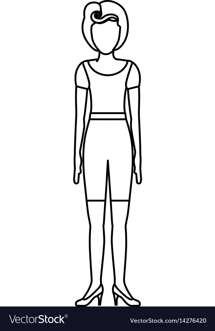 Contour body faceless woman with t-shirt and vector image