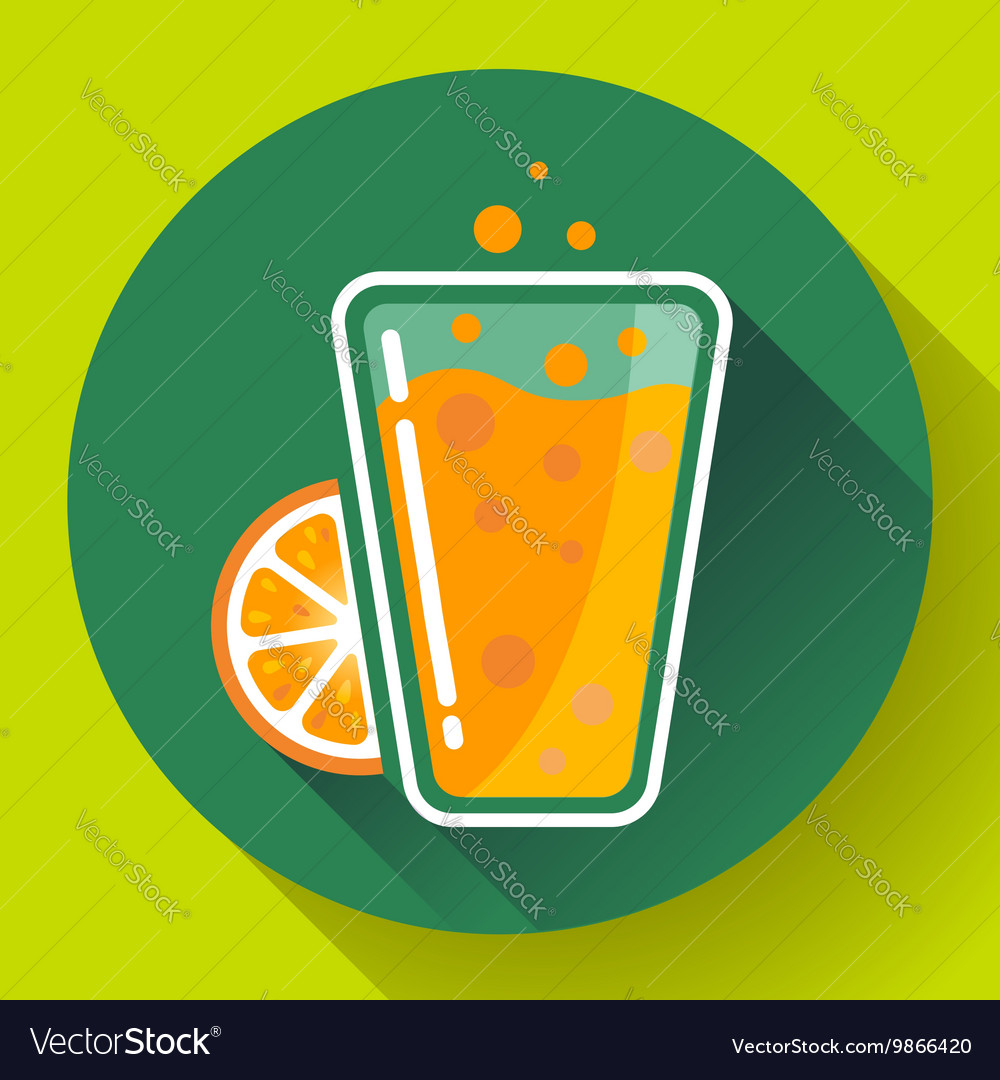 Flat ice tea drink icon Orange juice glass
