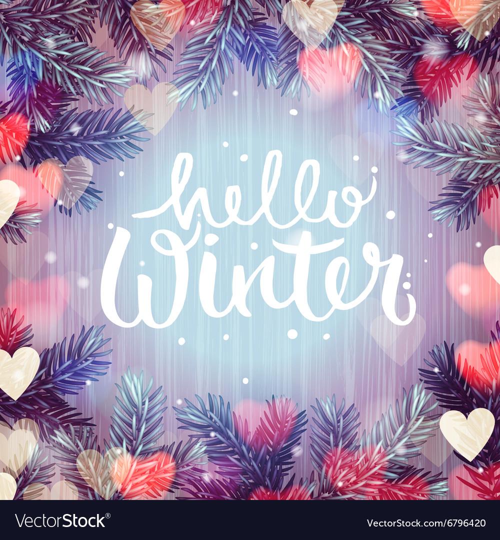 Hello winter blurred background christmas lights