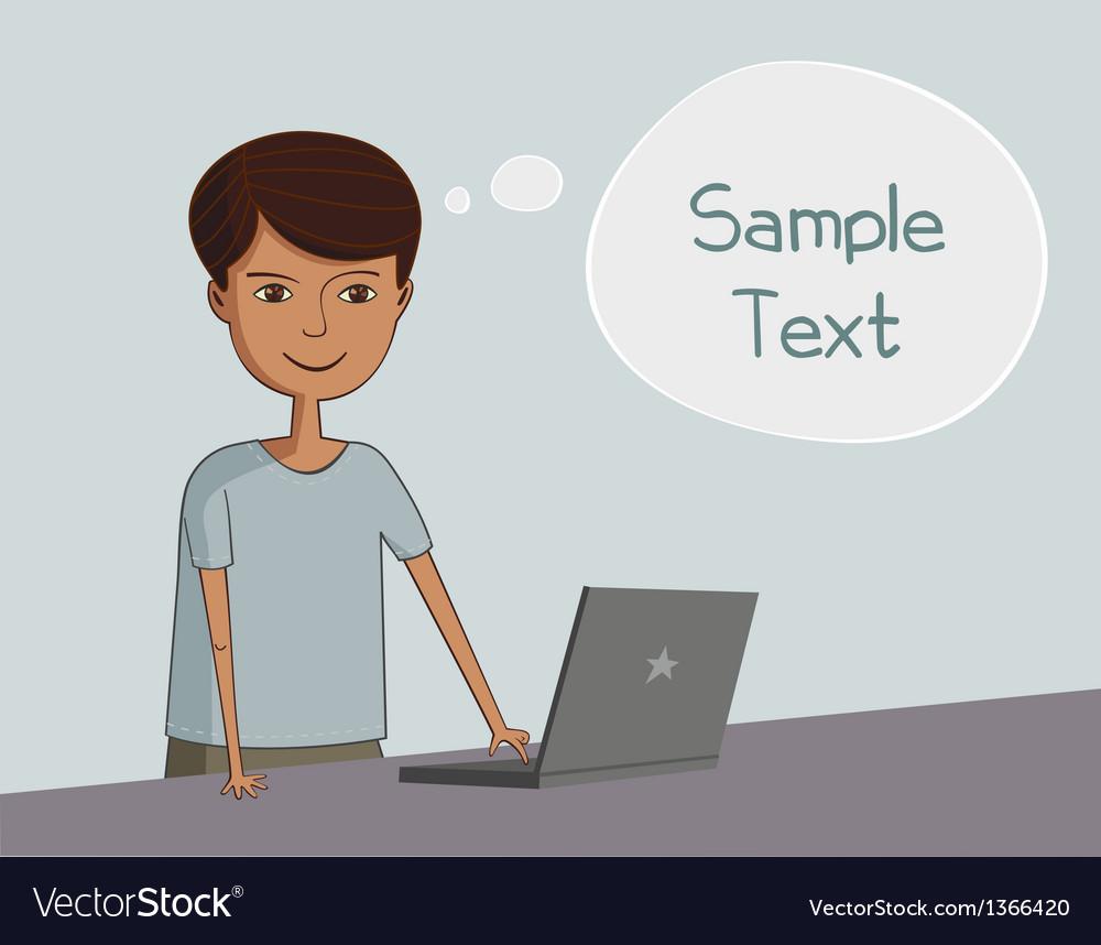 Man near the laptop thinks vector image