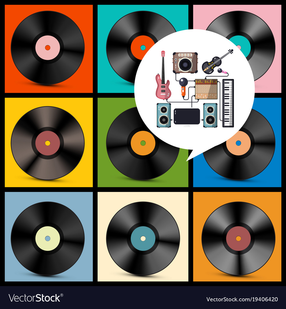 Retro music background vinyl records with vector image