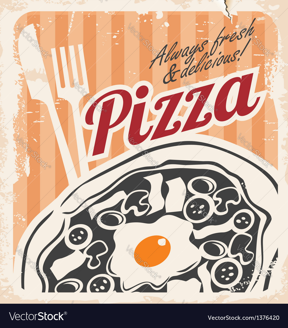 Retro pizzeria poster on old paper texture
