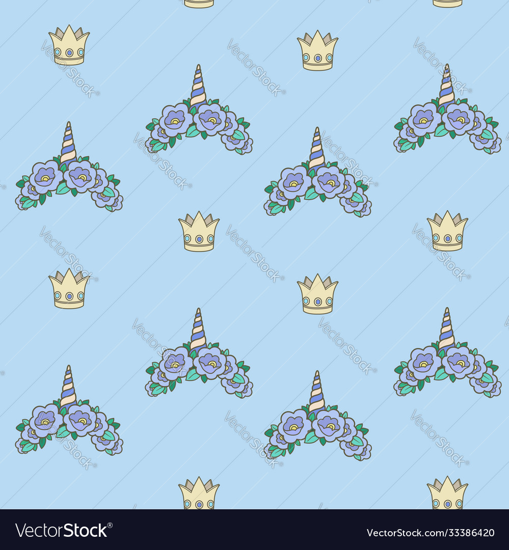 Seamless pattern from blue unicorn tiaras various