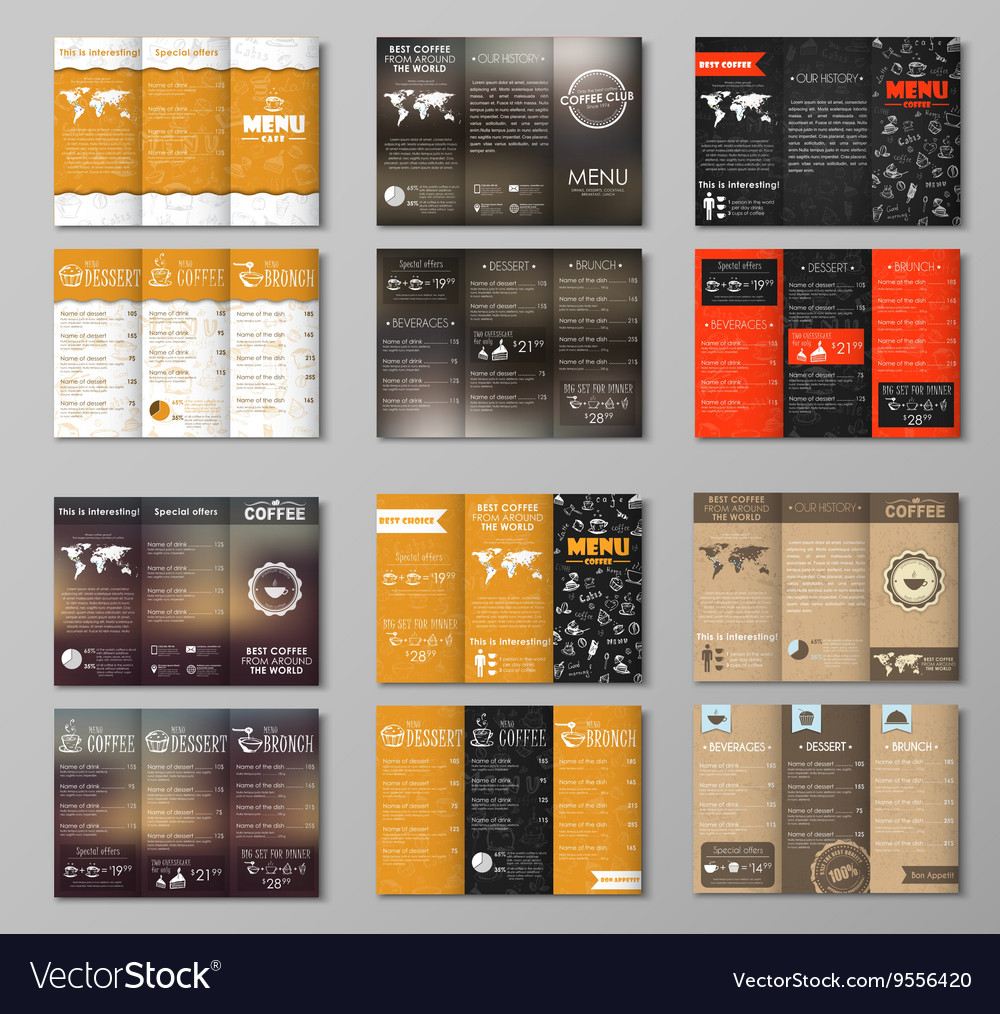 set triple folding coffee menu royalty free vector image