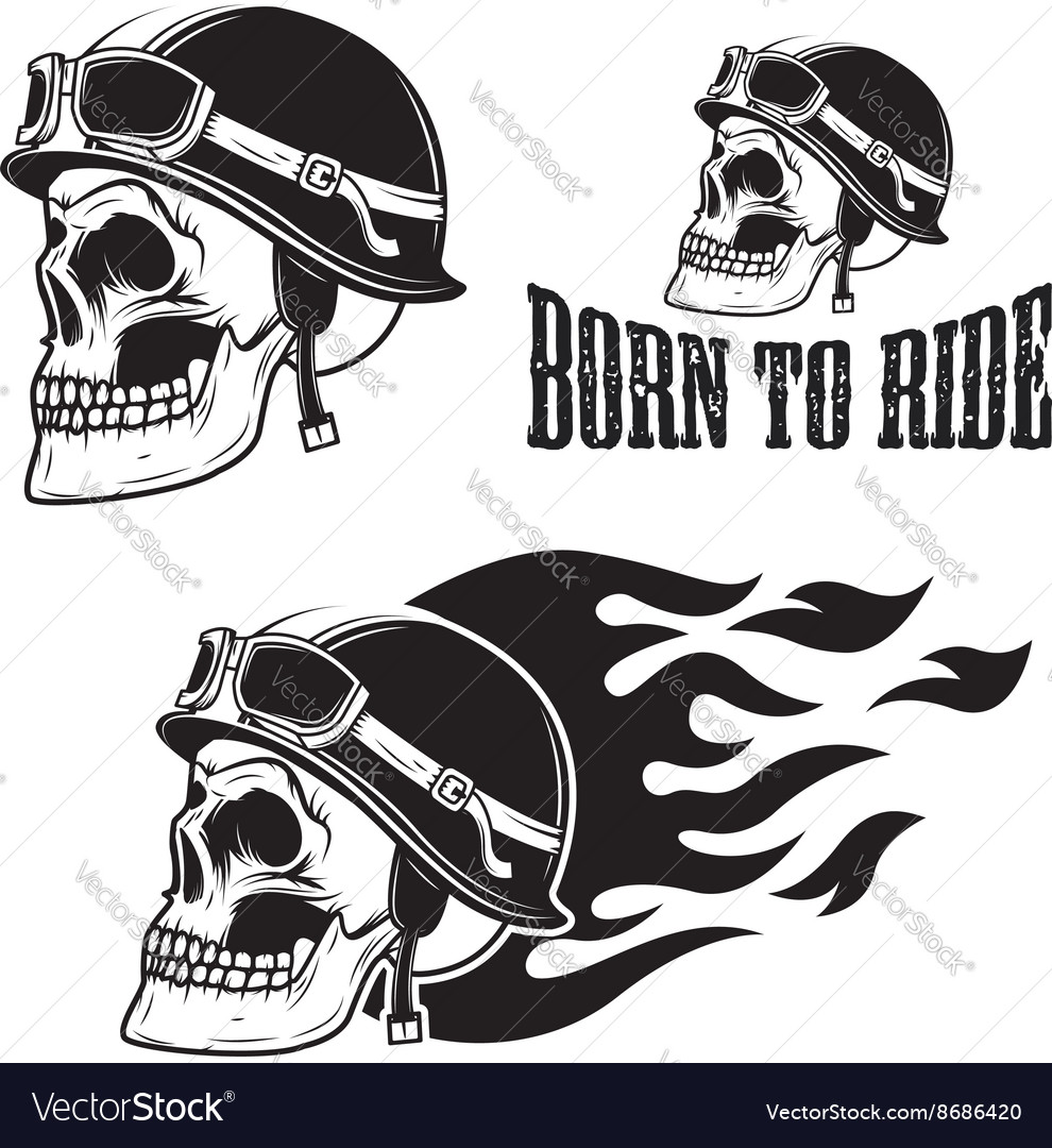 Skull in motorcycle helmet with fire Born to ride