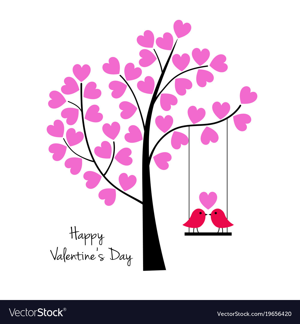 Valentines Day Birds On Swing With Tree Royalty Free Vector