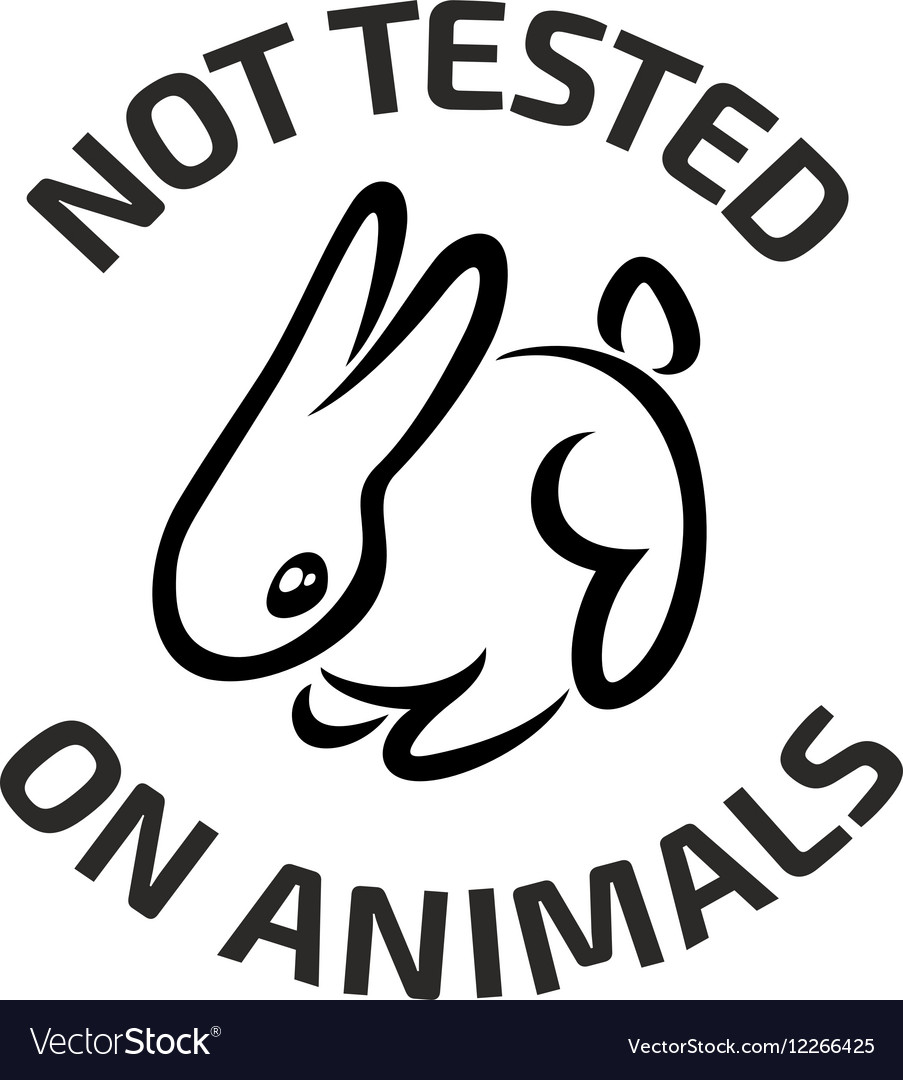 Animal testing black logo icon with rabbit vector image