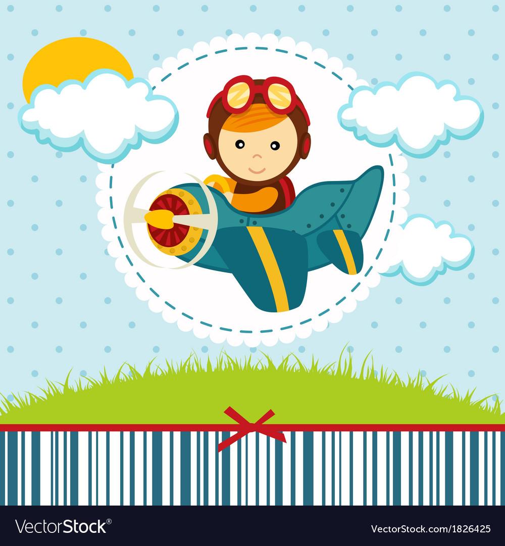 Baby boy pilot vector image