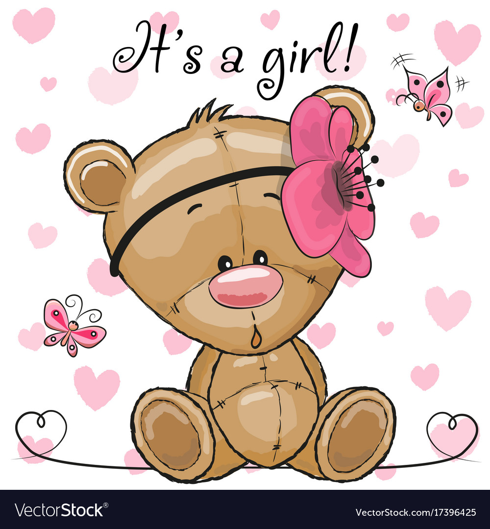 Baby shower greeting card with teddy bear girl vector image m4hsunfo