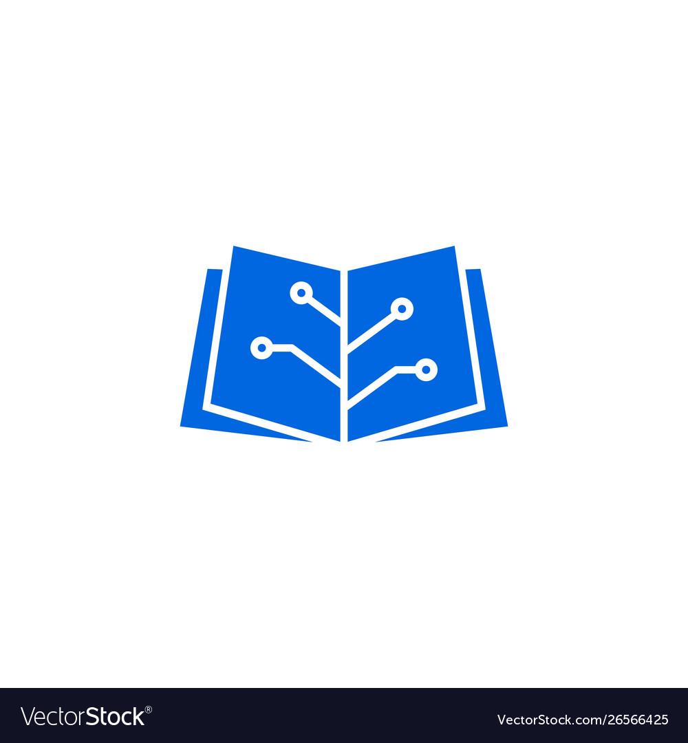 Book tech electric circuit logo icon
