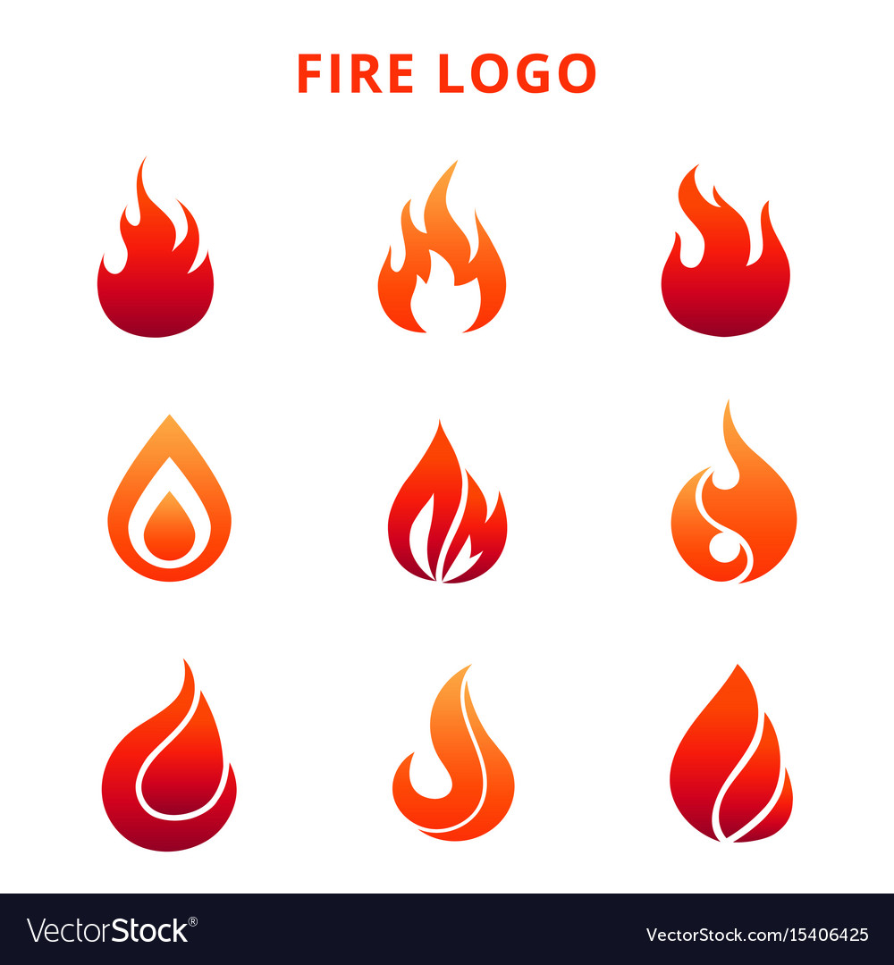 Colorful Flame Fire Logo Isolated On White Vector Image