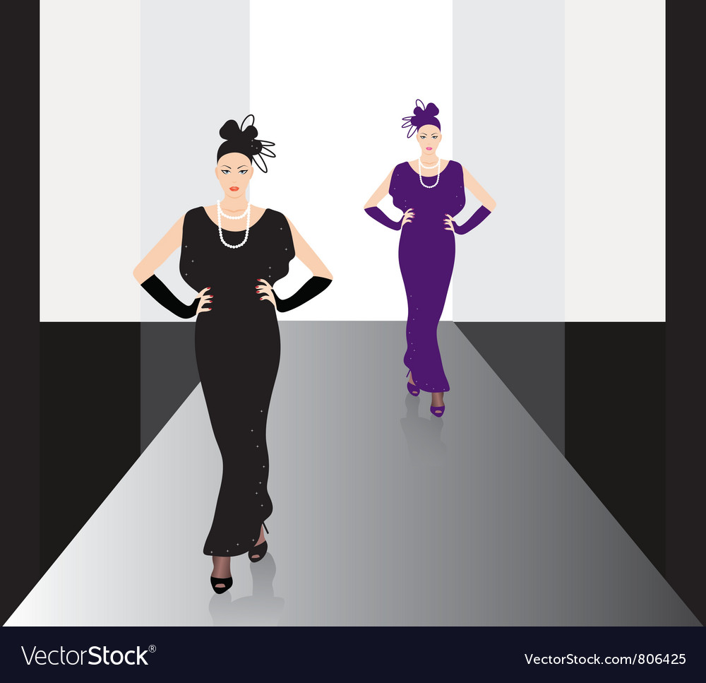 Fashion models on the podium