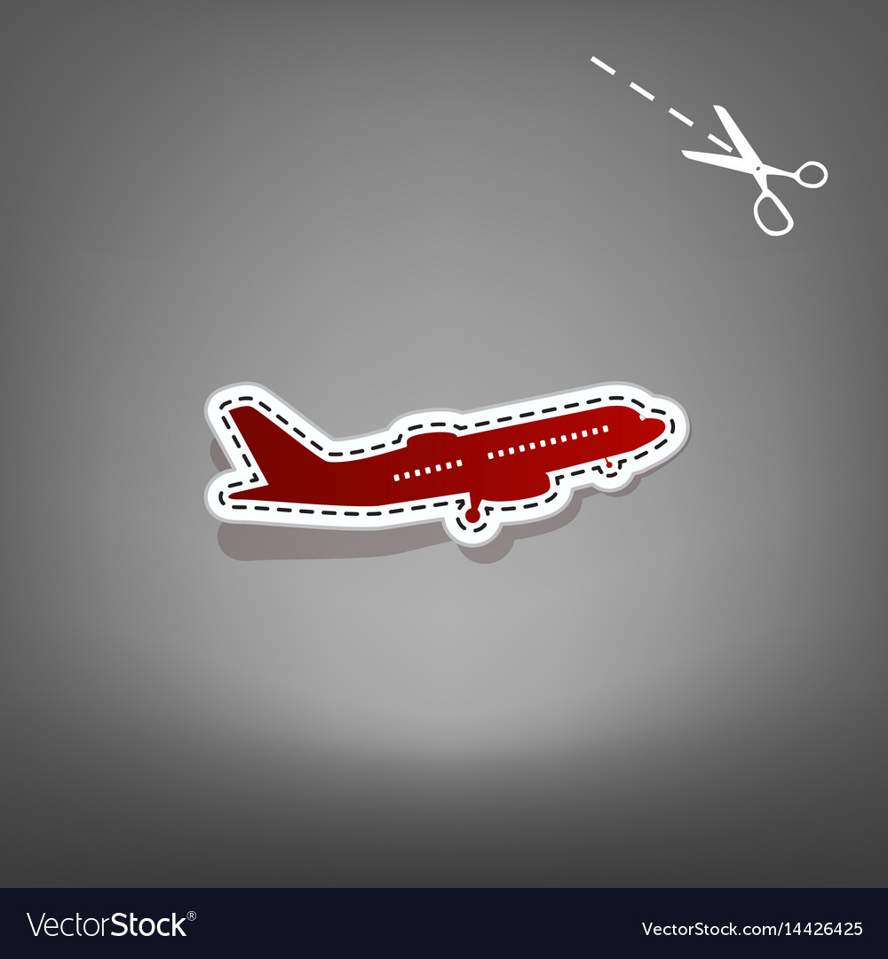 Flying plane sign side view red icon