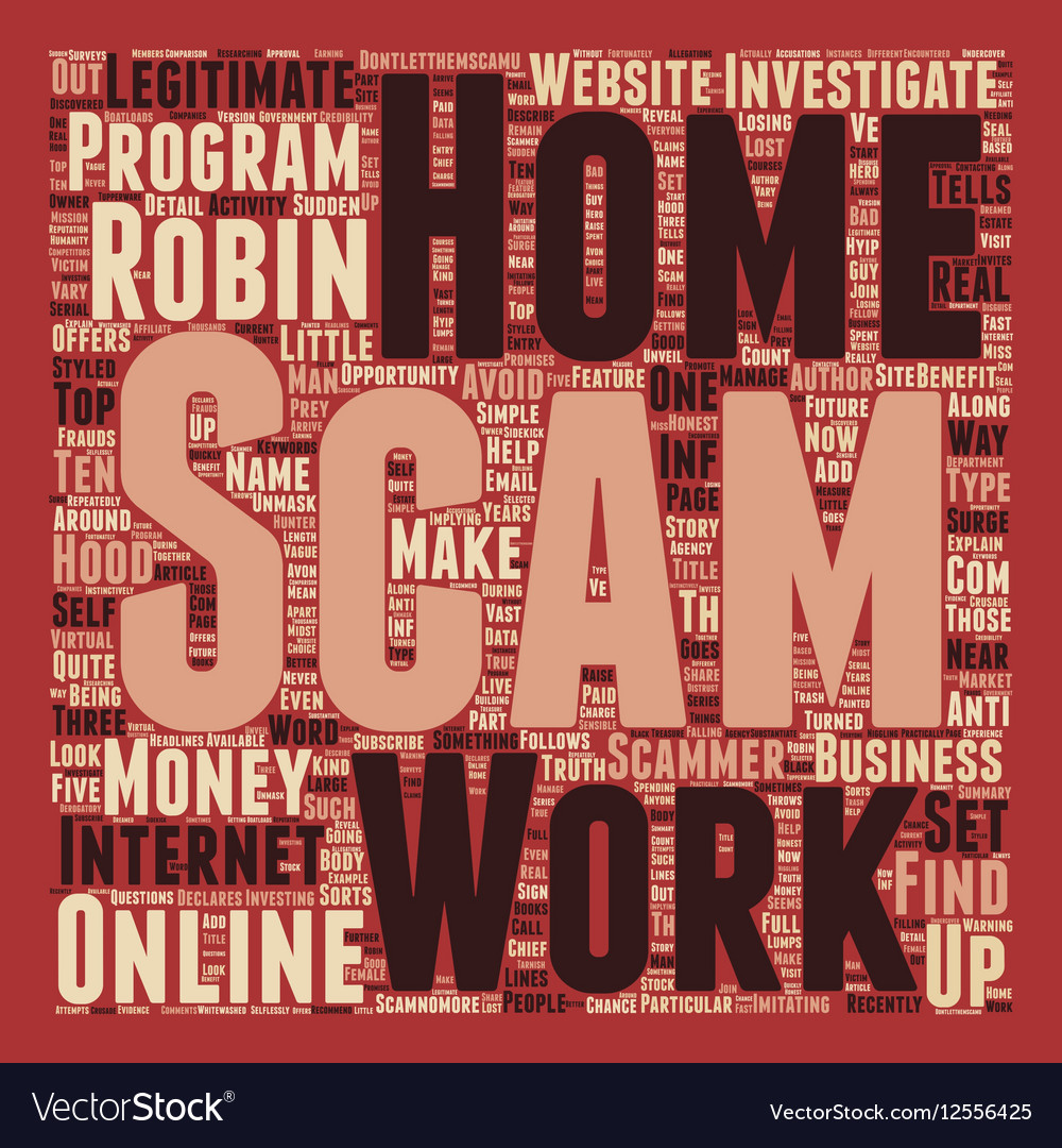 Robin Hood And The Work At Home Scam text vector image