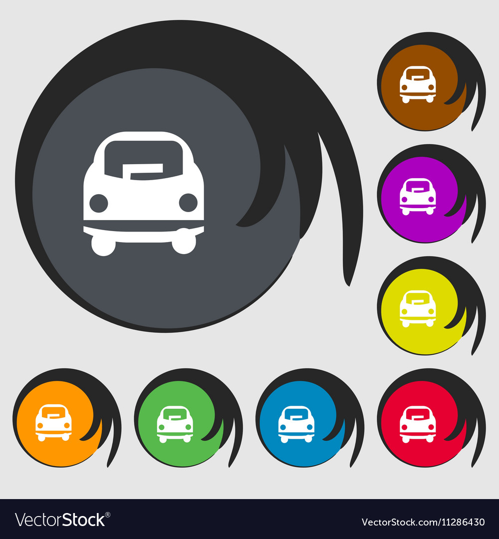 Car icon sign Symbols on eight colored buttons