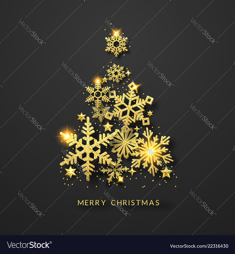Christmas tree background with shining gold
