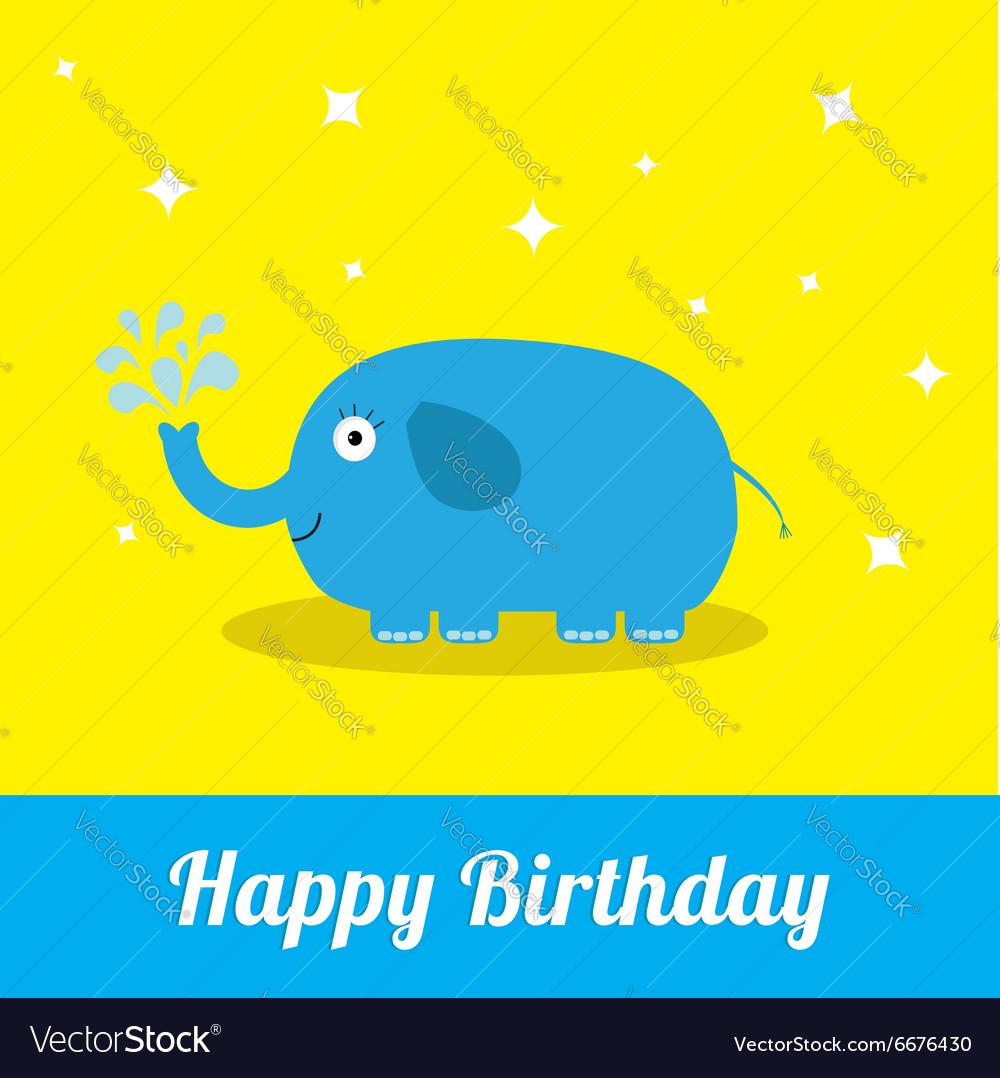 Happy Birthday card with cute elephant