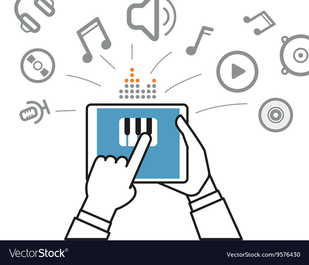 Making music via modern digital gadget Simple line vector image