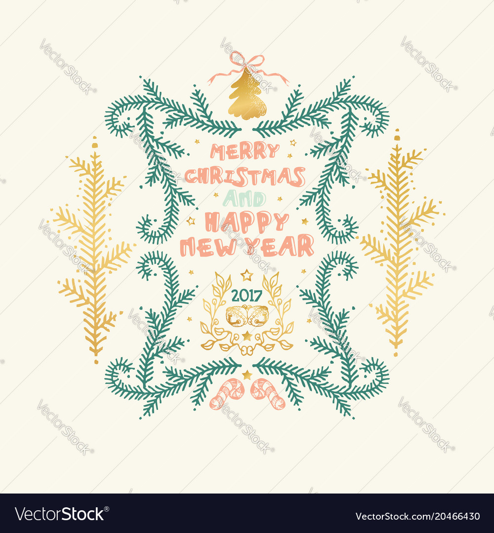 Merry christmas and happy new year words on beige Vector Image