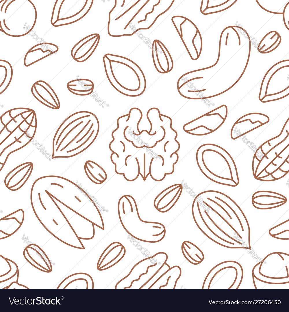 Nut seamless pattern with flat line icons