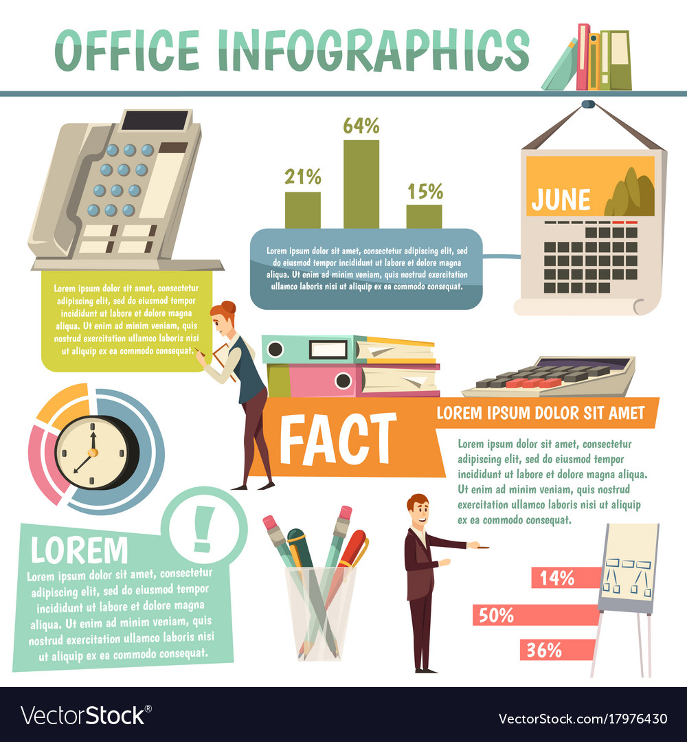 Office orthogonal infographics vector image