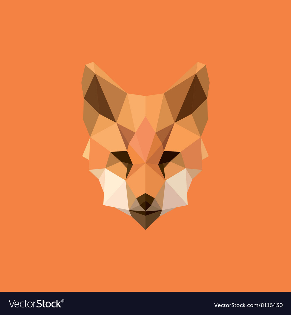 orange fox head polygon design style f modern logo