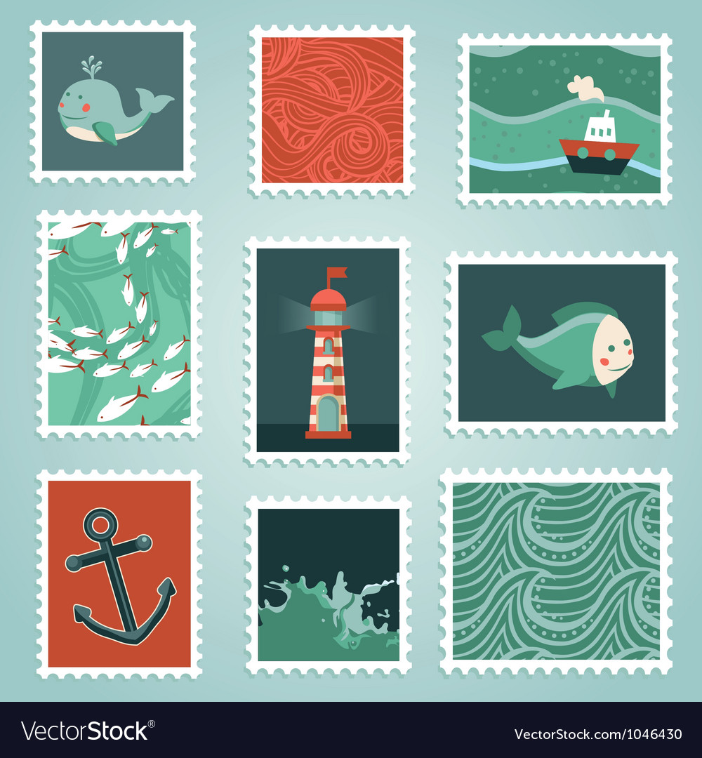 Set with stamps and sea design elements vector image