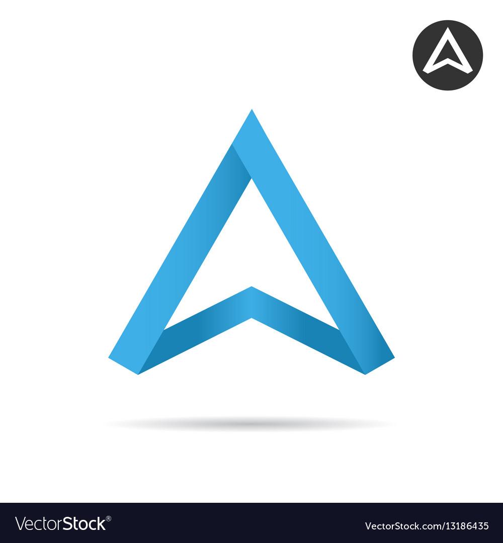 Blue arrow pointing up ribbon shape