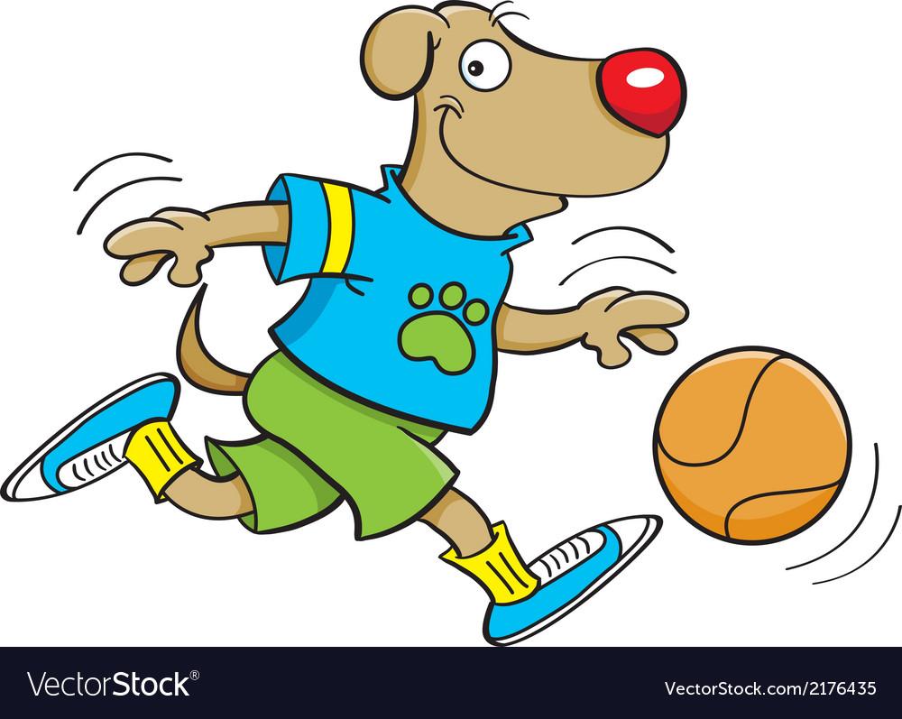 cartoon dog playing basketball vector image