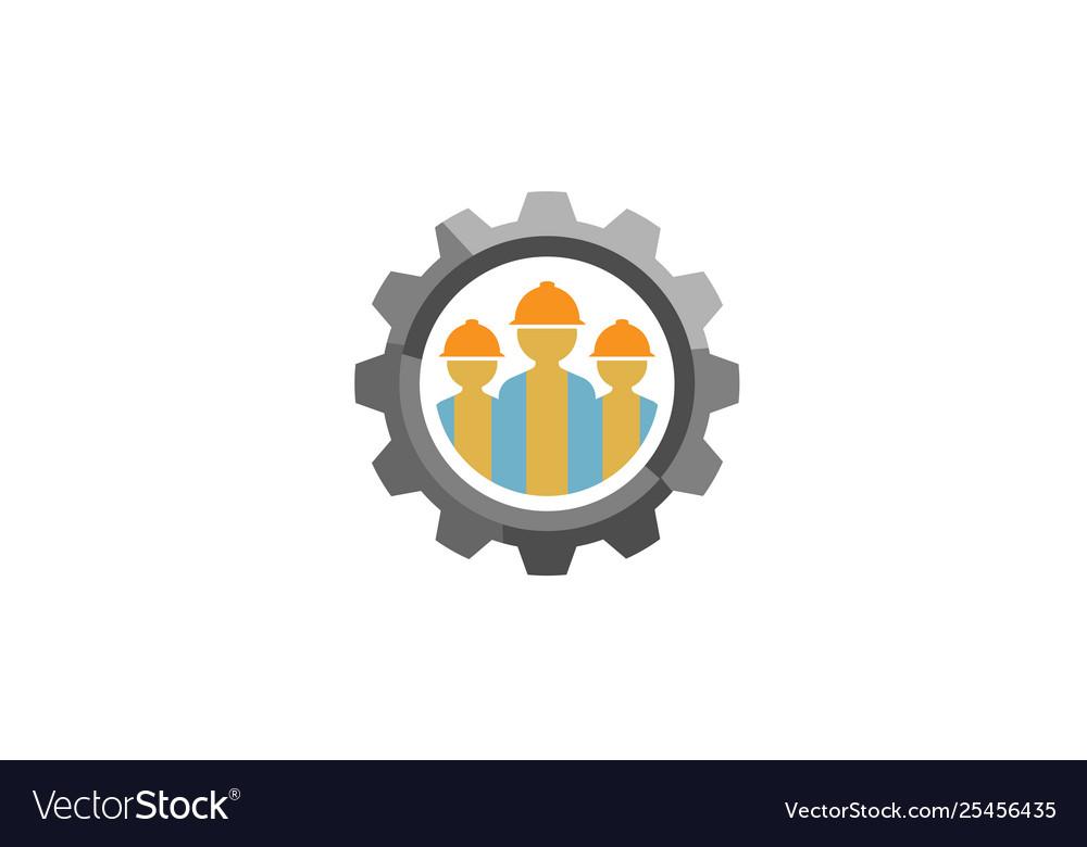 Creative three people team gear logo design