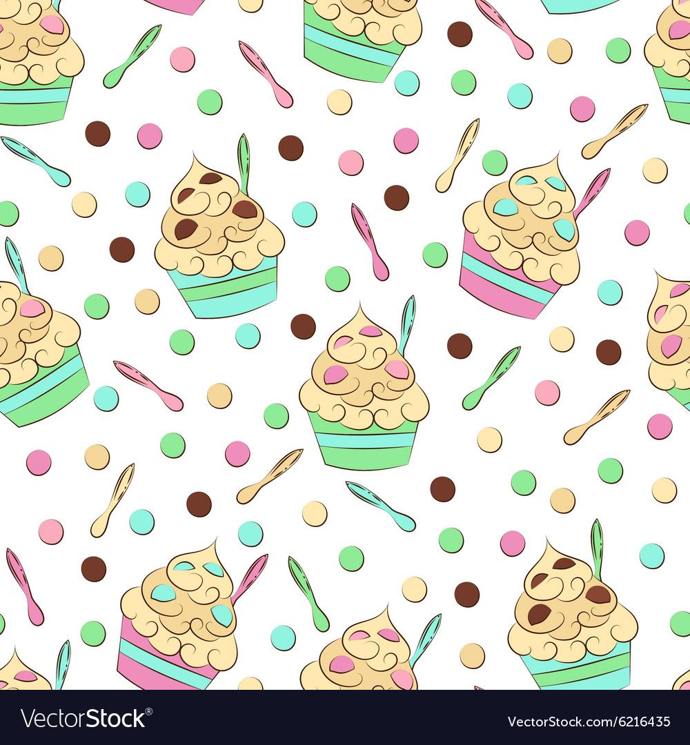 Cute seamless frozen yogurt pattern Sweet cold