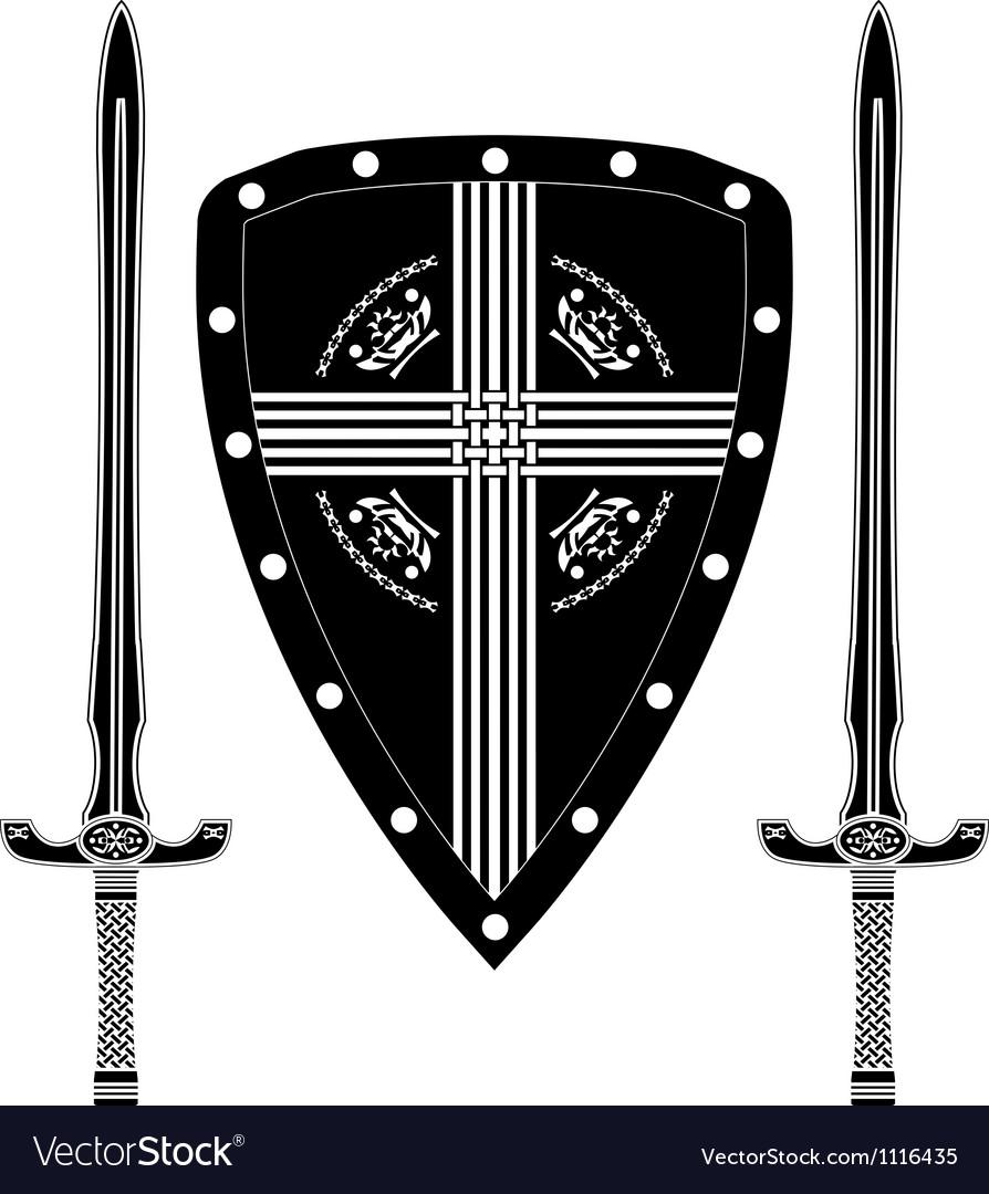 Fantasy shield and swords of european warriors vector image