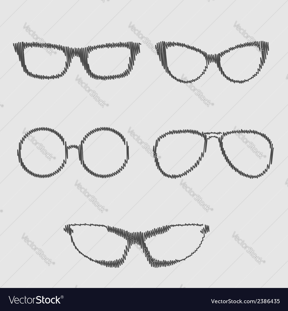 Glasses set Isolated Icons Scribble effect