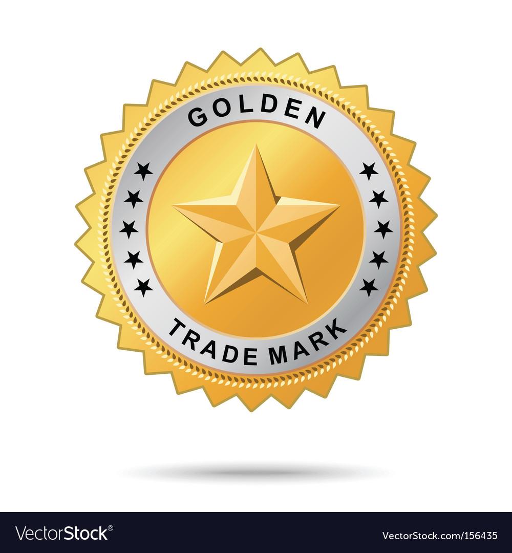 Golden trade mark label vector image