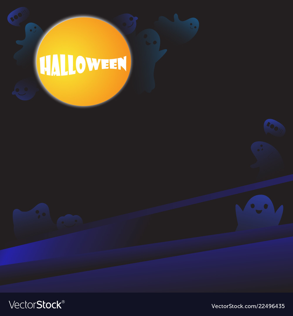 Halloween background with cute ghosts
