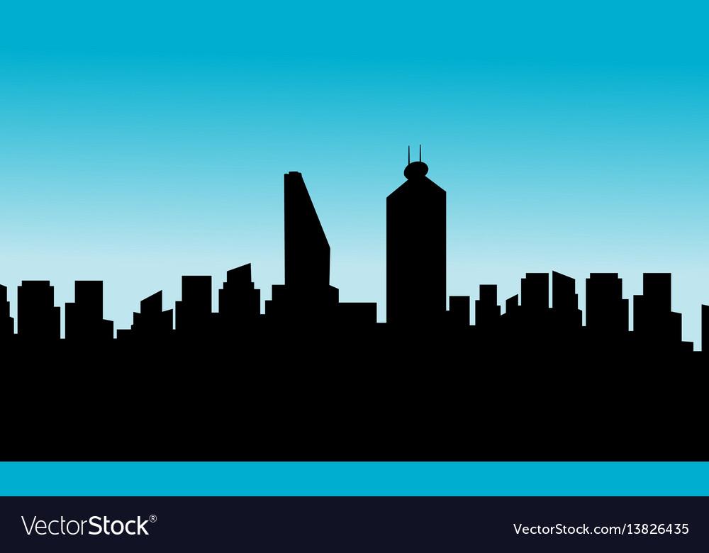 Mexico city skyline silhouette flat