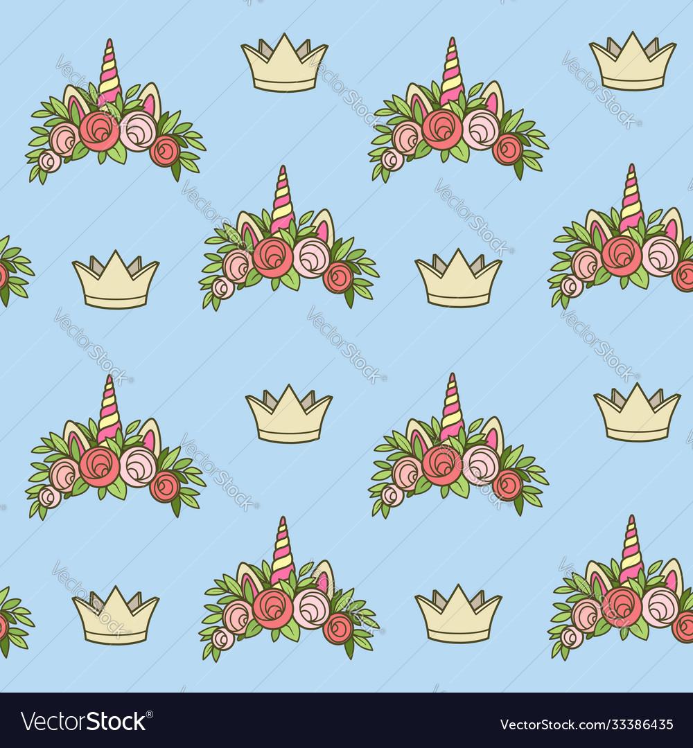 Seamless pattern from unicorn tiaras various