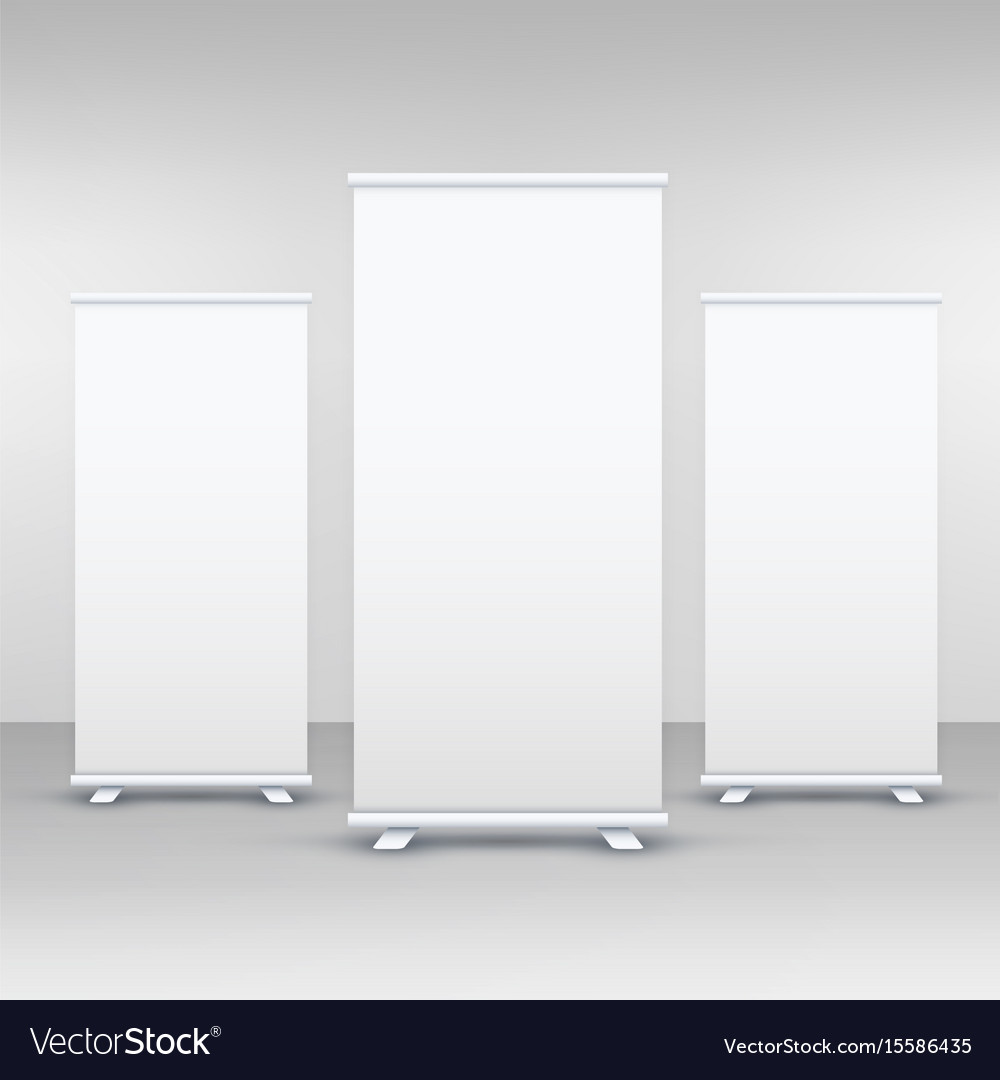 three standee or rollup banner display mockup vector image