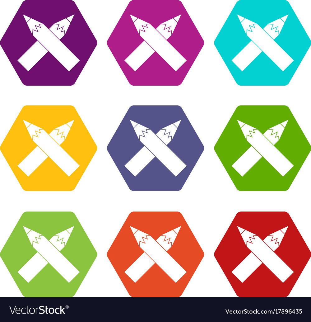 Two crossed pencils icon set color hexahedron vector image