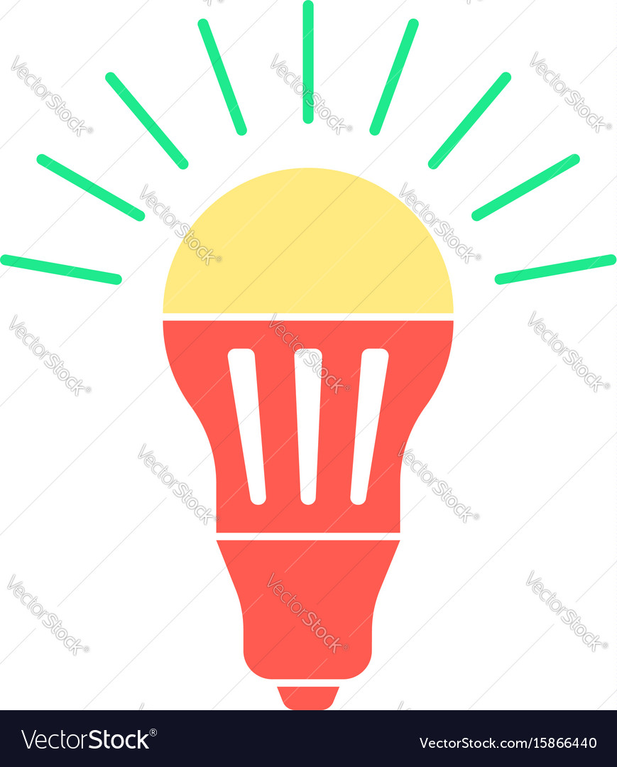 Colored led bulb with green light flash