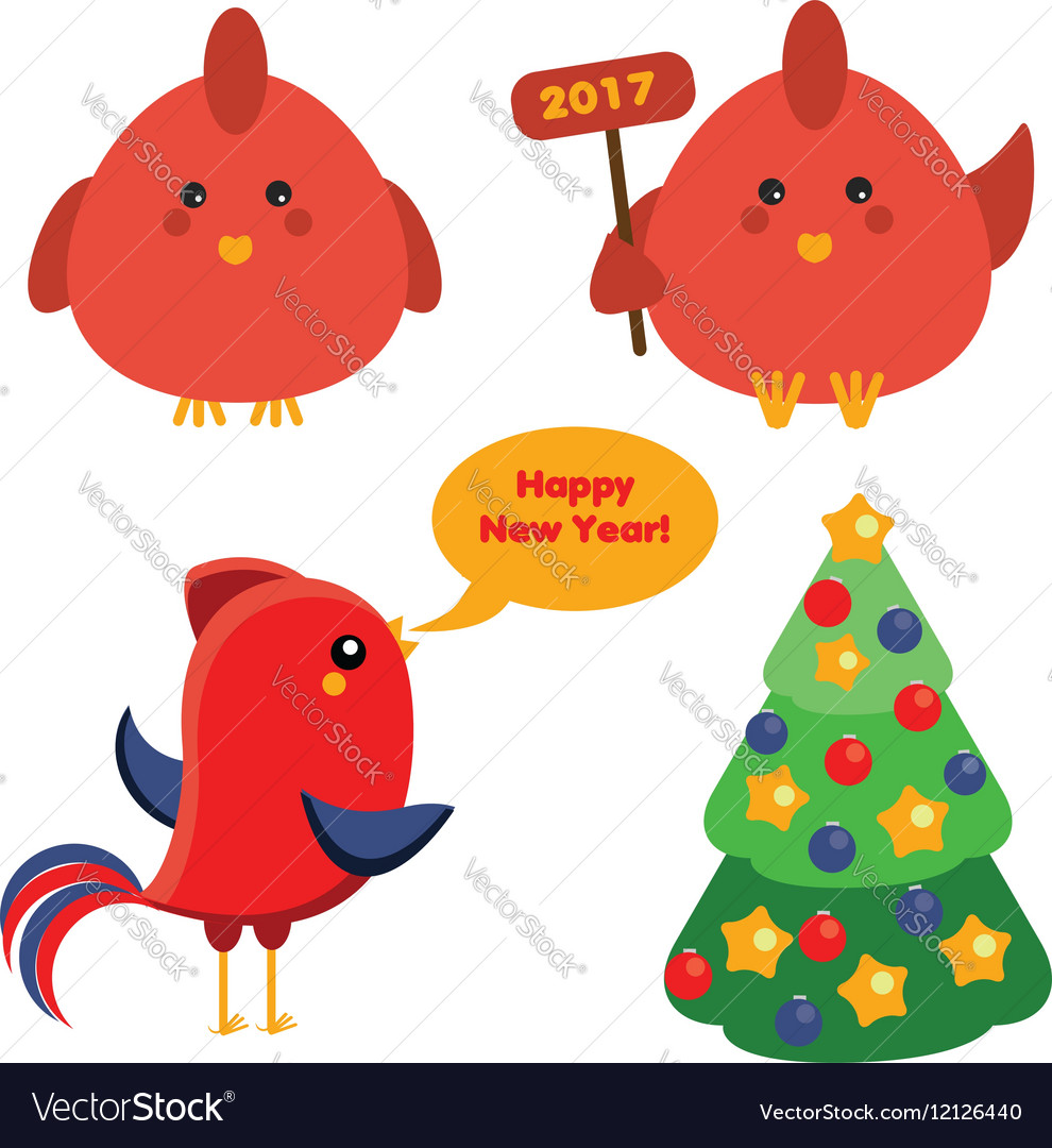 Cute red roosters and christmas spruce tree in vector image