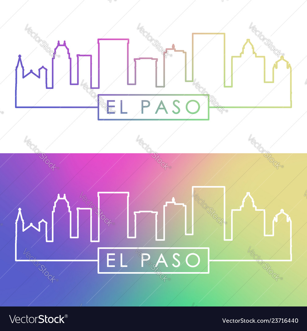 El paso skyline colorful linear style editable