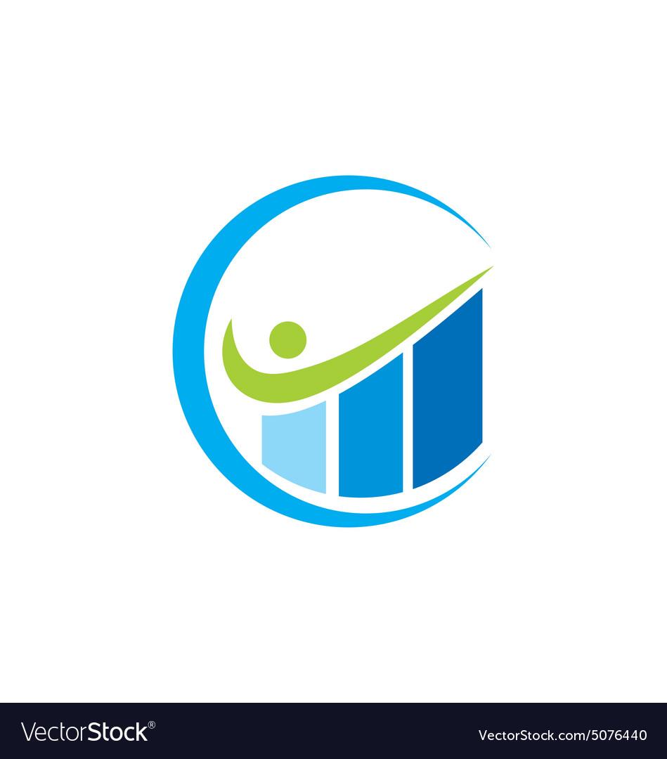 Graph business finance level up logo