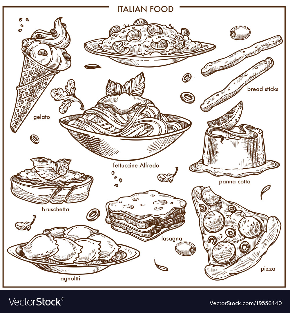 Italian cusine sketch dishes pizza pasta meat vector image