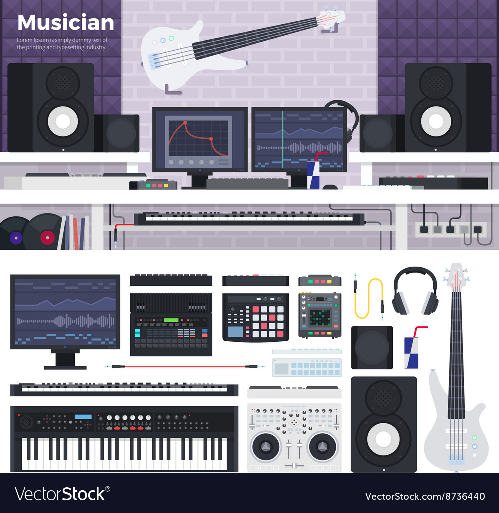Musician workspace with musical instruments