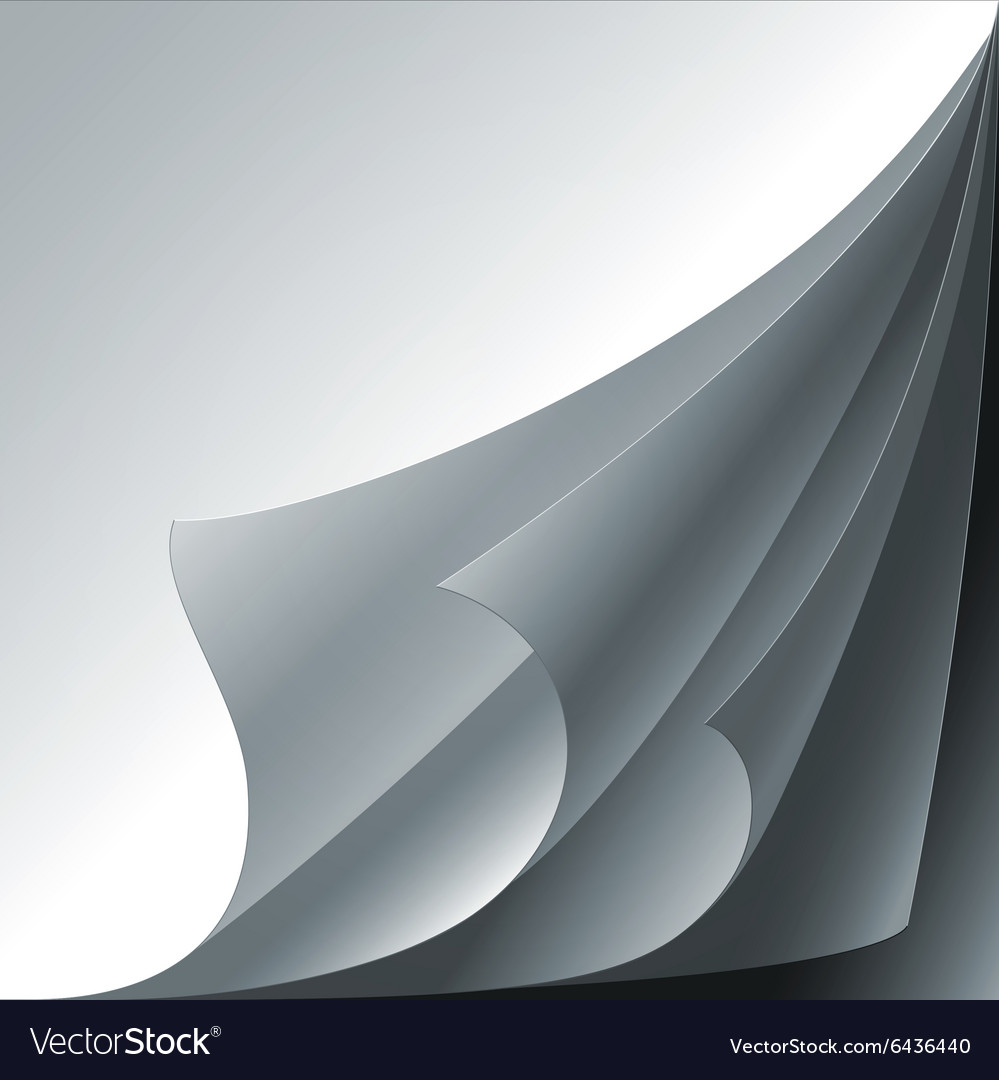 Set of 4 white paper curled corners with realistic