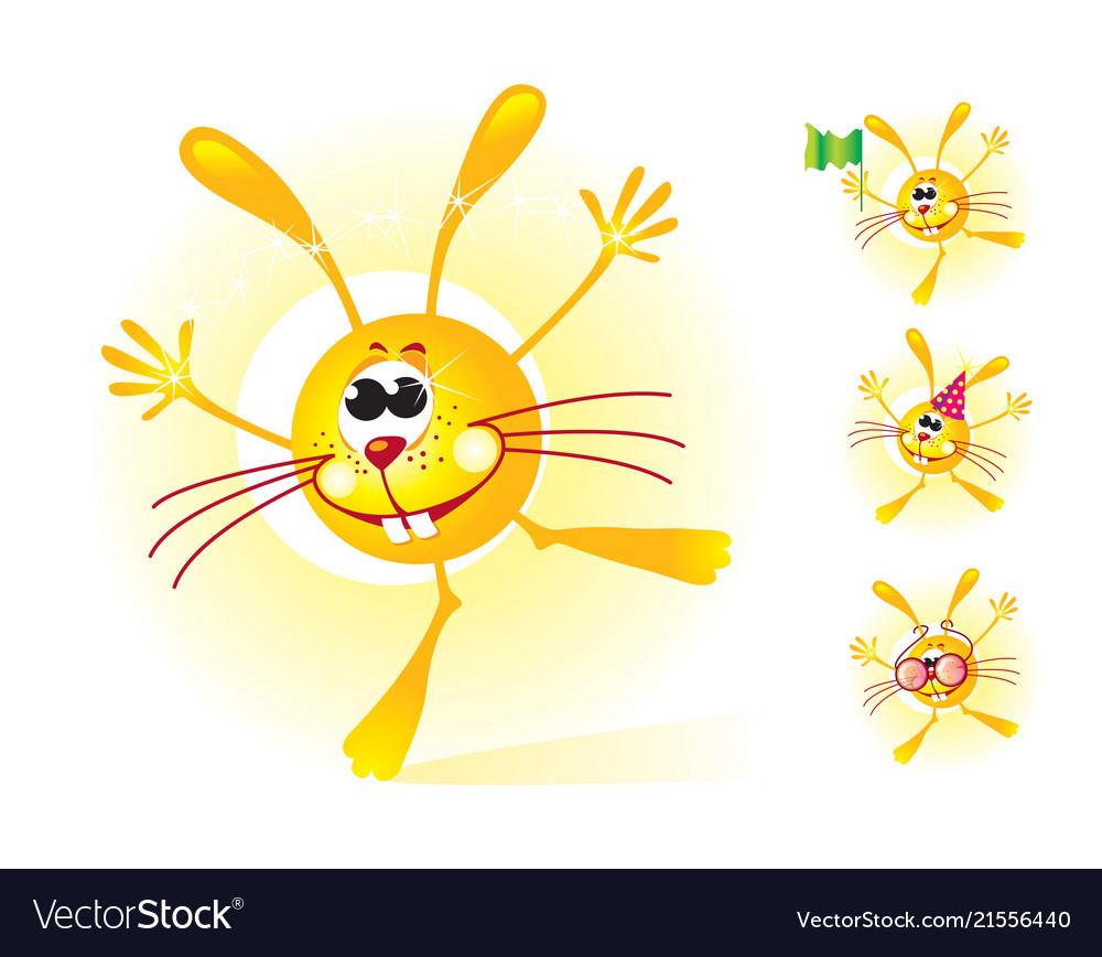 Sunny bunny mascot shining and smiling