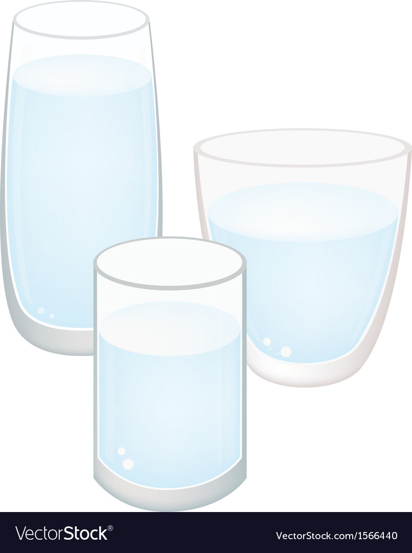 Three Glass of Water on White Background