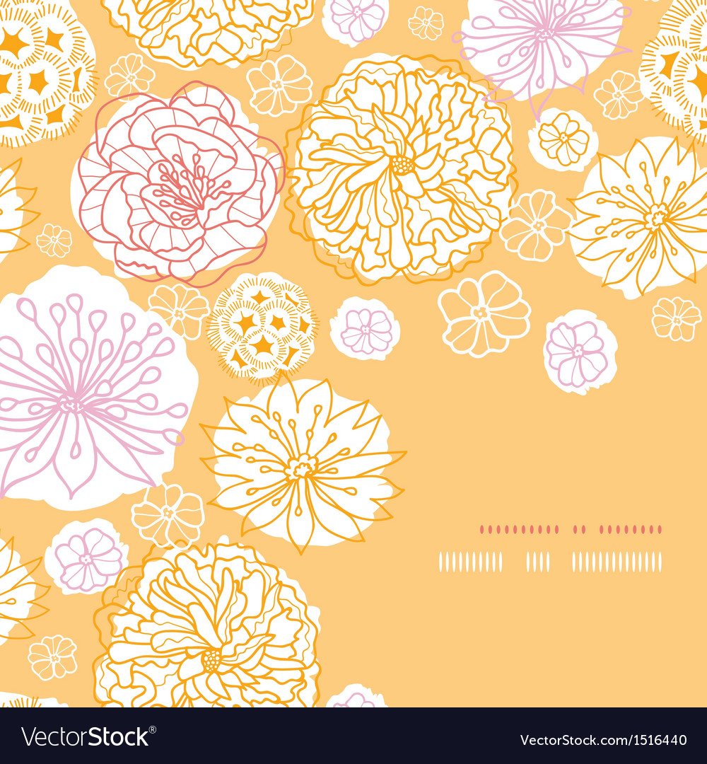 Warm day flowers corner frame pattern background vector image